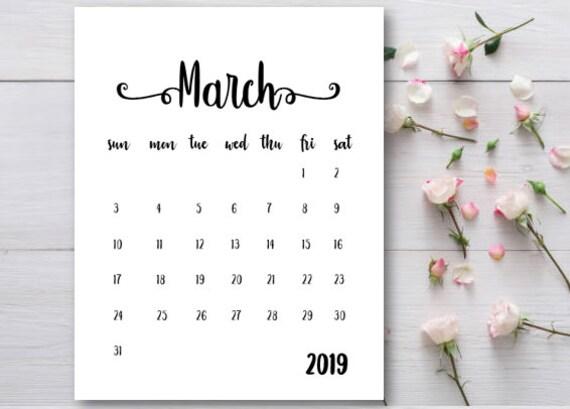 Pregnancy Announcement Calendar Baby Announcement March 2019 Etsy