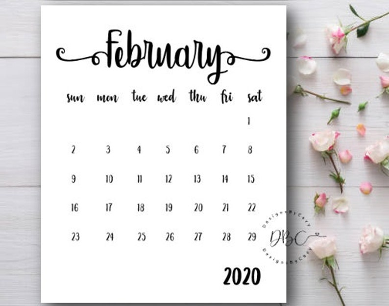 February 2020 Printable Calendar Cute.Pregnancy Announcement Calendar Printable Calendar February 2020 Calendar Baby Announcement Calendar Due Date Reveal Instant Download