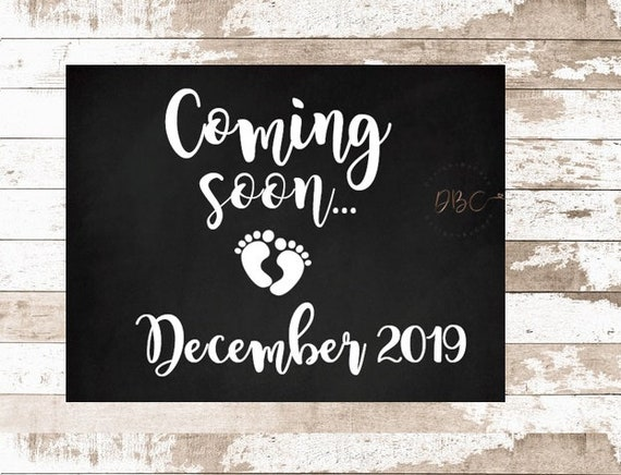 graphic regarding Printable Baby Announcement known as Printable Being pregnant Announcement, Youngster Coming Quickly Indicator, Coming Shortly December 2019 Boy or girl Announcement, Being pregnant Describe Indication Immediate Down load