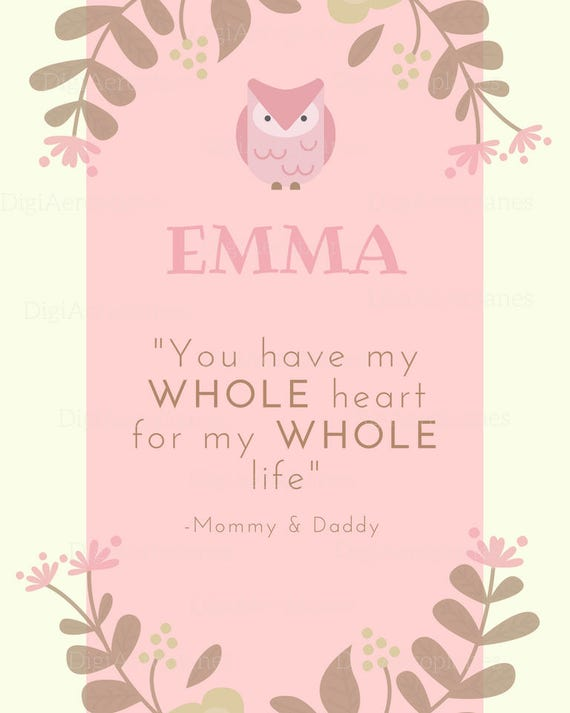 Baby Name Gift  Baby Room Print  Baby name meaning quote  Emma Name Print