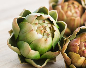 Set of 3-Artificial Fruit Real Touch Artichoke Randomly Picked
