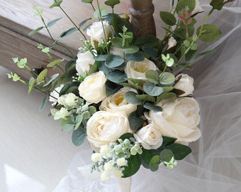 White rose bouquet etsy bridal bouquet wedding bouquet white rose and eucalyptus bouquet mightylinksfo
