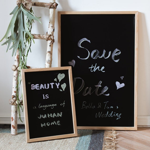 Black Magnetic Chalk Board With Solid Wood Frame Etsy