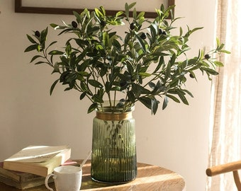 """Artificial Fruit Faux Olive Stem 28"""" Tall"""