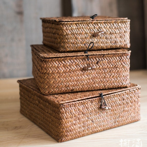 a735f3adb535 Set of 3-Natural Basket Natural Small Lidded Straw Basket in
