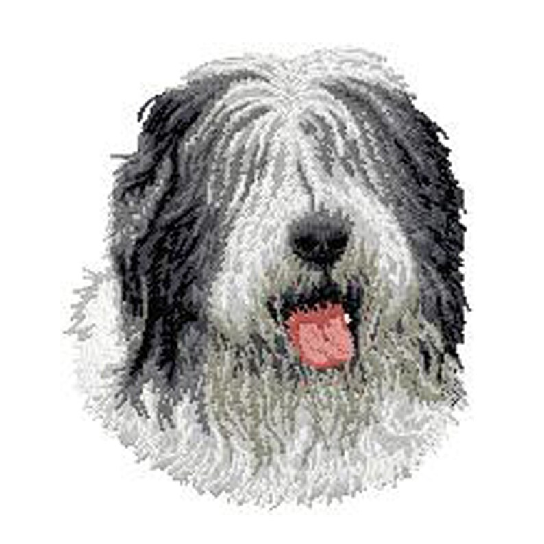 bearded collie,Schapendoes,Bobtail,bearded collie,patch patch embroidered thermocollant,sewing,embroidery machine,K9,By Team Numerik