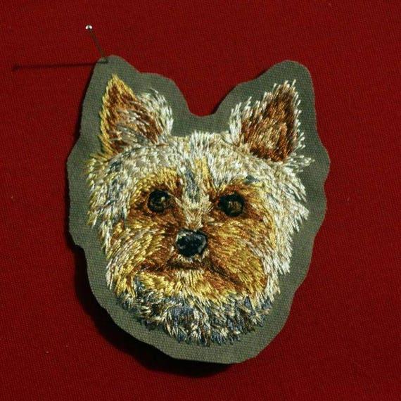Ecusson Patch Brode Race De Chien Yorkshire Terrier Broderie Etsy