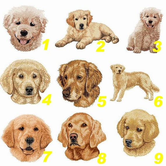 "2/"" x 2 1//2/"" Golden doodle Dog Breed Portrait Embroidered Patch"