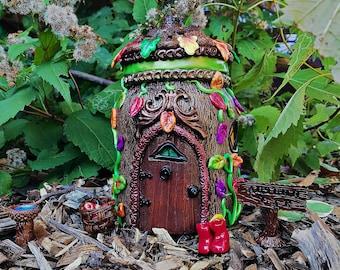 Autumn Oak Tree Fairy/Gnome House Mason Jar with Real Acorn Roof.