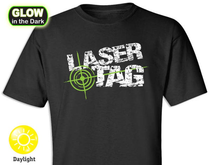 Laser Tag Distress Look Glow-in-the-Dark T-shirt image 0