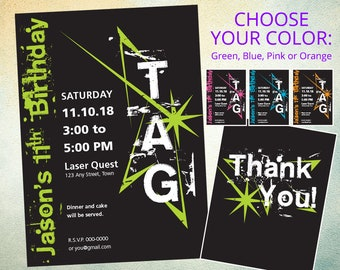 Laser Tag Star Digital Invitation and Thank You Cards – Customizable Digital Printable PDF – Choose Your Color(s): Green, Blue, Pink, Orange