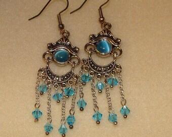 Pendant in silver and Swarovski earrings