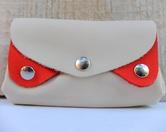 Wallet, accordion items white ecru and vermilion leather card holder