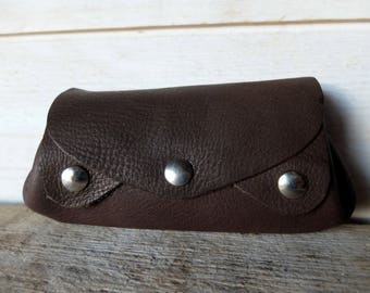 Wallet, accordion, items in brown leather card holder