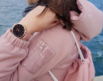 Modern Rose Gold Watch with Black case and Peach Leather Strap