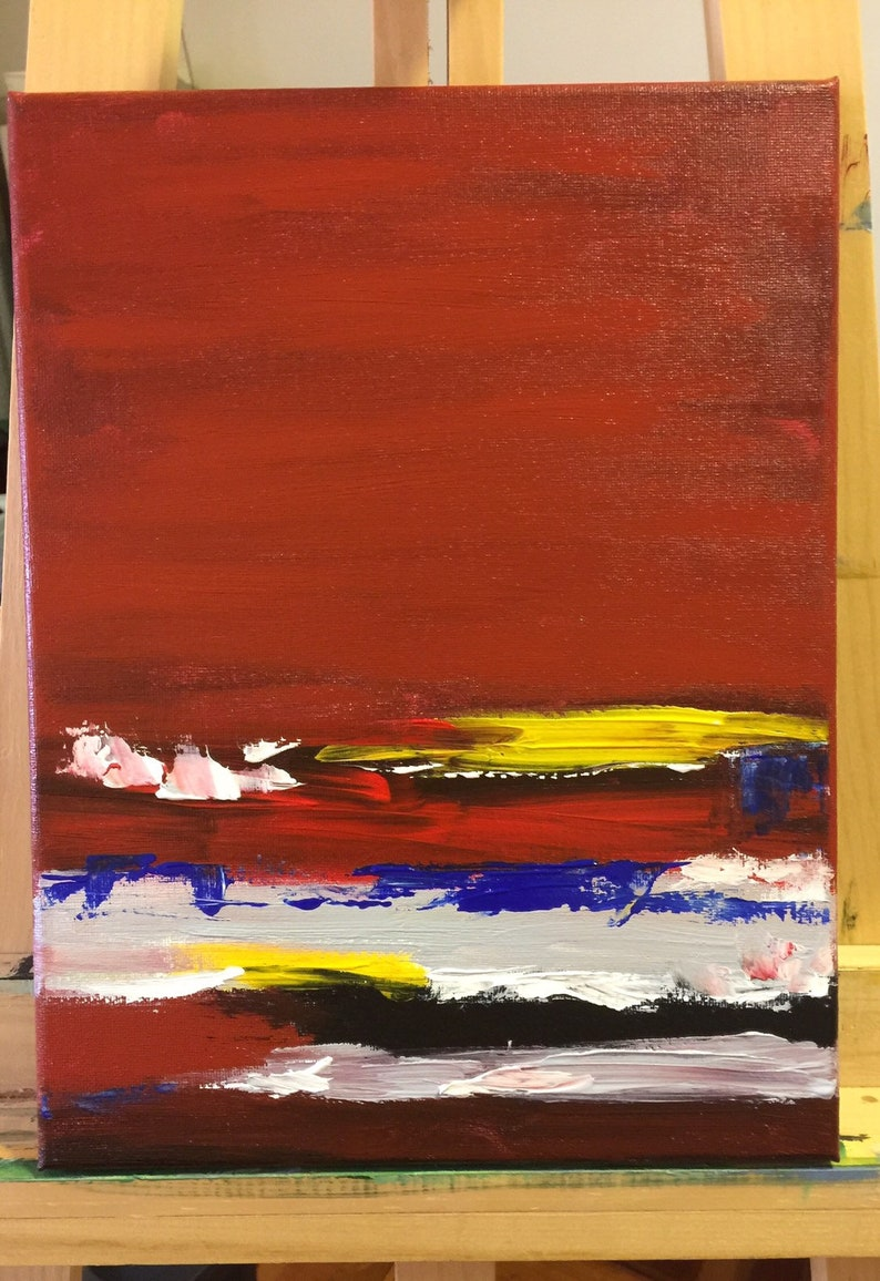 Abstract Acrylic Painting Art Original Small Landscape Abstract Red Landscape