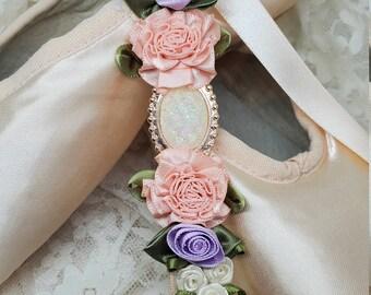 Bunwrap YAGP Floral hair Ribbon Bunflowers Bunpin Lulusballetwraps Emerald Ballet Bun Wrap Bunholder
