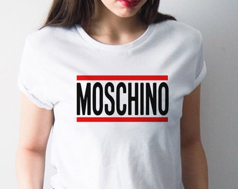 Moschino Women's T-shirt, White,  Limited Edition Vintage Artwork
