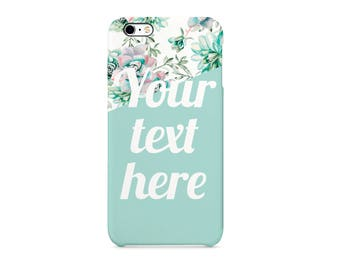 Pink Turqoise Flower Style16 Personalised Custom Quote Text Name Initials Gift Protective Phone Case Cover For Iphone X 7 8 Samsung Huawei