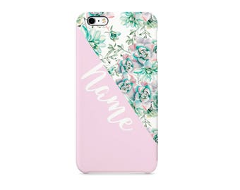 Pink Turqoise Flower Style13 Personalised Custom Quote Text Name Initials Gift Protective Phone Case Cover For Iphone X 7 8 Samsung Huawei