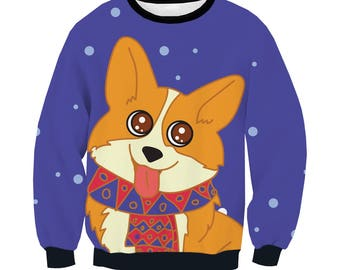 Cute Corgi dog smiling with scarf allover print / full-print/ Women's / Men's  Sweatshirt / Birthday gift / Christmas present / Active wear
