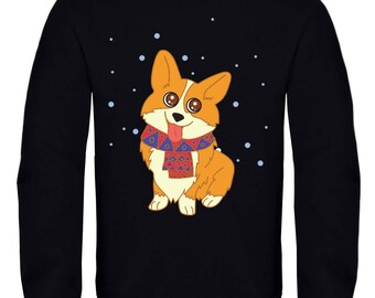 Cute Corgi dog smiling with scarf / Women's / Men's  Sweatshirt / Birthday gift / Christmas present / Active wear/Cotton