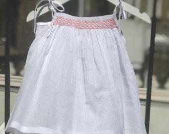 Shoulder Tie Dress, Summer Dress, Girls Sundress, Baby girl sundress, Pure Cotton, Smock summer top, White Dress, Beachwear, Sizes 6m-3years