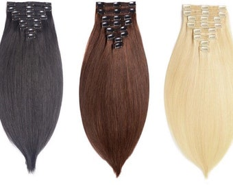 Thick 8 Piece Clip In Human Hair Extensions