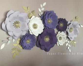 Purple paper flowers etsy purplewhitegold paper flower set of 8 mightylinksfo