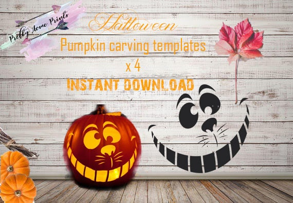 Halloween pumpkin carving template stencils instand download