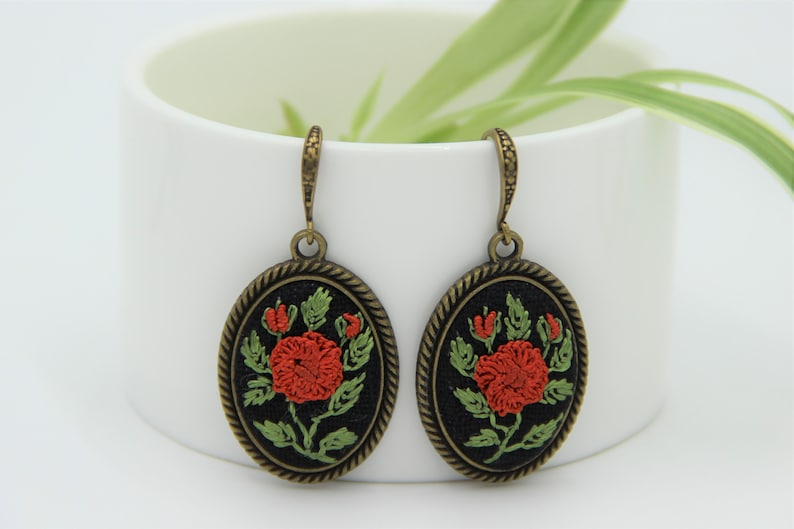 Dainty flower earrings cotton anniversary gift for her Unique embroidered jewelry with red roses as birthday