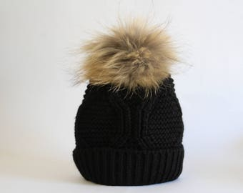 Fur pom pom black hat Winter hat Christmas gift  a31c0363515