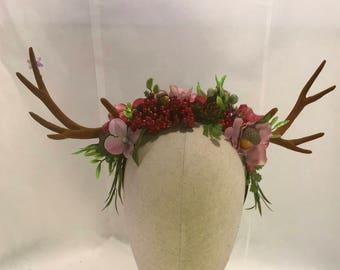 Summer forest blooms berries acorns antler headdress deer woodland horns fairy pixie festival horned crown