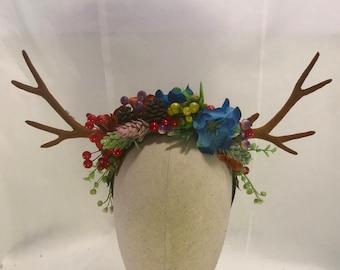 Spring forest blooms berries acorns antler headdress deer woodland horns fairy pixie festival horned crown