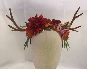 Autumn forest blooms berries fall antler headdress deer woodland horns fairy pixie festival horned crown