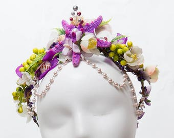 Mermaid siren starfish crown fantasy tropical kelpie selkie circlet ocean floral pearl and seashell headdress