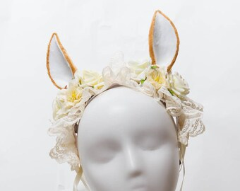 Sweet Alpaca - alpaca themed cream cute lace floral lolita headdress adorable deer ears crown