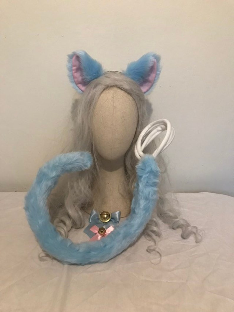 Pastel dreams blue /& pink kawaii cat ears and tail set decora festival neko kittenplay rave wire posable large tail cosplay petplay bell bow