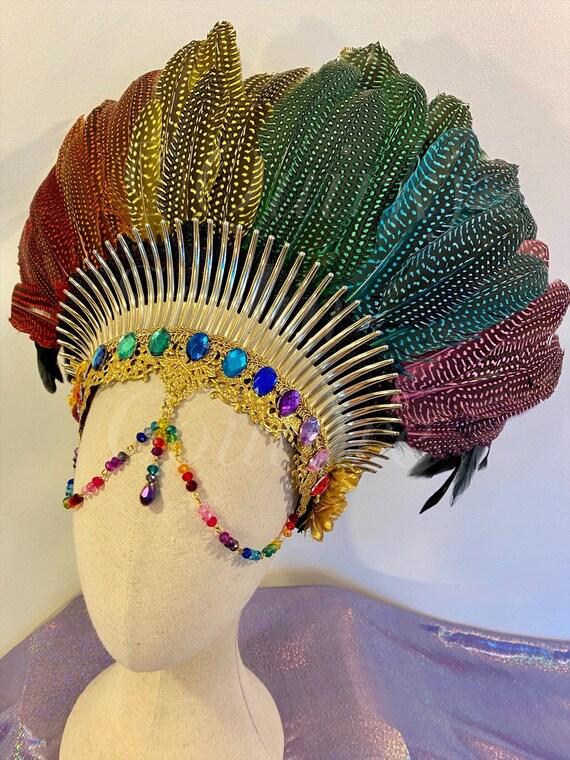 Rainbow Sunrise headdress epic festival feather jewel gold beaded rave pixie psytrance pride party headpiece fantasy mardigras crown