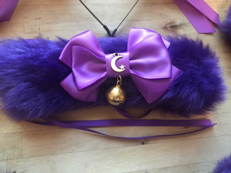 Purple Galaxy luxury Cat Ears /& tail cute moon star lolita decora rave headband cosplay furry festival party kittenplay celestial collar set