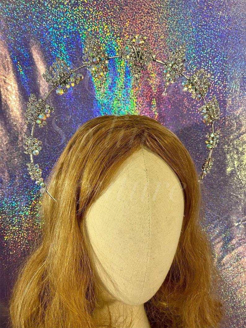Jewel filigree Halo crown headband elegant celestial headdress rainbow shimmer sparkle gothic princess festival tiara elven queen headpiece