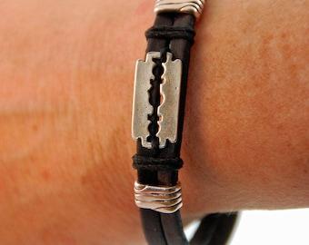 Mens bracelet - Black leather - silver - steel