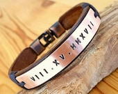 Gift for Valentine 39 s Day Roman Numeral Personalized Plated Leather Bracelet Men Leather Jewelry for husband Anniversary and Valentine Gift