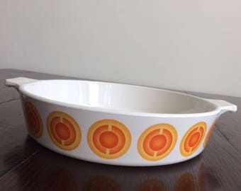 Vintage Pyrex Pyroflam oven dish, retro 1970s space age