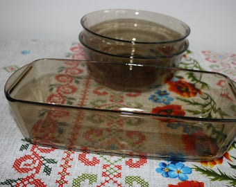 Arcopal France/Arcoroc bowls, loaf pan, smoked glass, set of 3