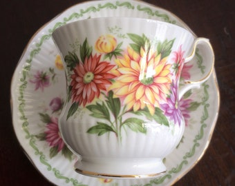 Queen's Rosina Bone China cup & saucer, Special Flower Aster
