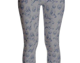 f3e78198ce923 Goldendoodle Leggings Doodle Leggings Dog Leggings- Gray & Navy