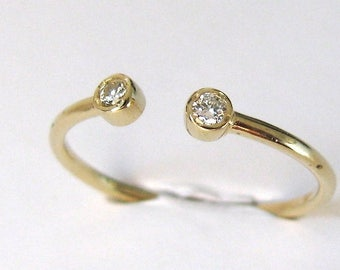 Open Ring Diamond Solid Gold 14k Natural Diamond, Wedding Ring, Engagement Ring, Stackable Ring, Promise Ring