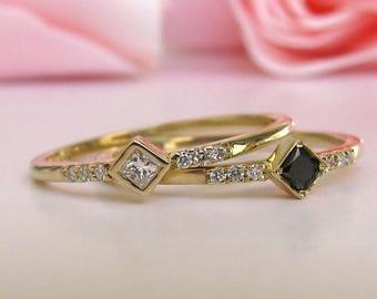 Princess Cut Black Diamond Engagement Ring, Diamond Engagement, Stacking Gold Ring, Dainty Natural Diamond White And Black Simple Engagement