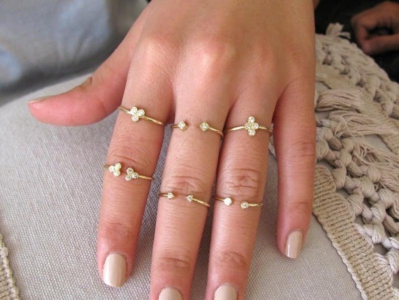 Diamond Engagement Ring Double Diamond Ring Anniversary Ring Two Diamond Ring Open Diamond Ring Dual Diamond Ring Dainty Diamond Ring